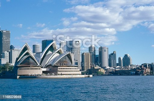 Sydney, New South Wales, Australia, 1994. Sydney skyline with the Opera Building.