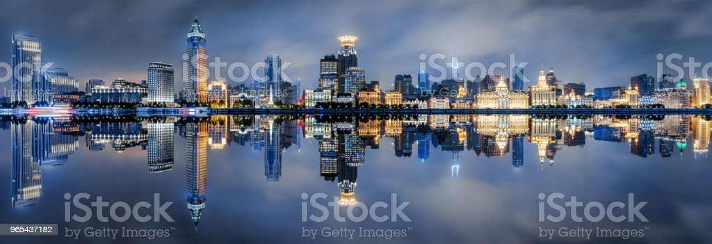 The skyline of the Bund in Shanghai during night time royalty-free stock photo
