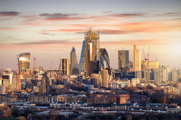 The skyline of the financial district City of London, UK stock photo