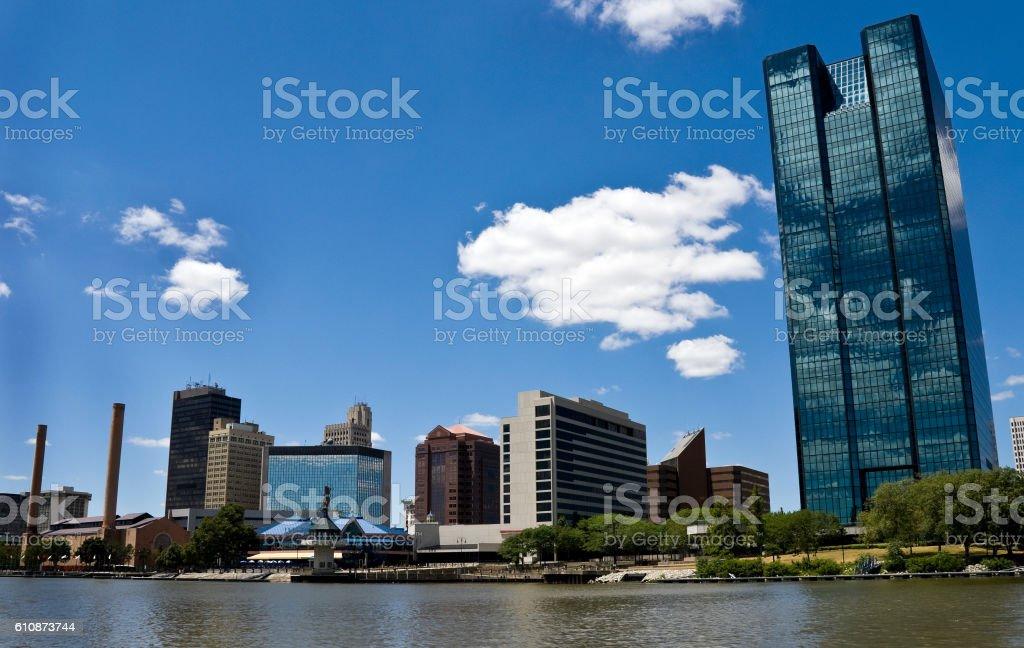 The skyline of Toledo, Ohio during the day stock photo