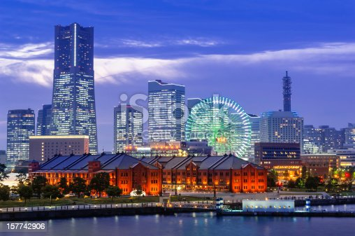 The Yokohama Skyline with the famous Landmark Tower, Queen's Square and the ferries wheel with the Aka-Rengo Soko in foreground.