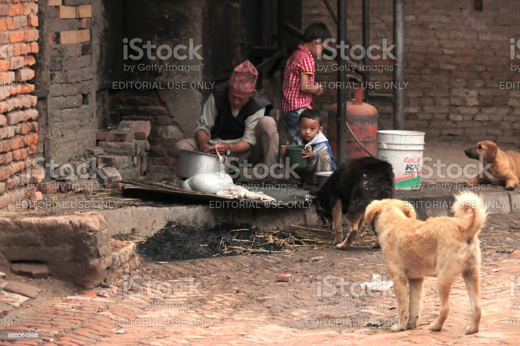 The slaughter of a goat, Nepal stock photo