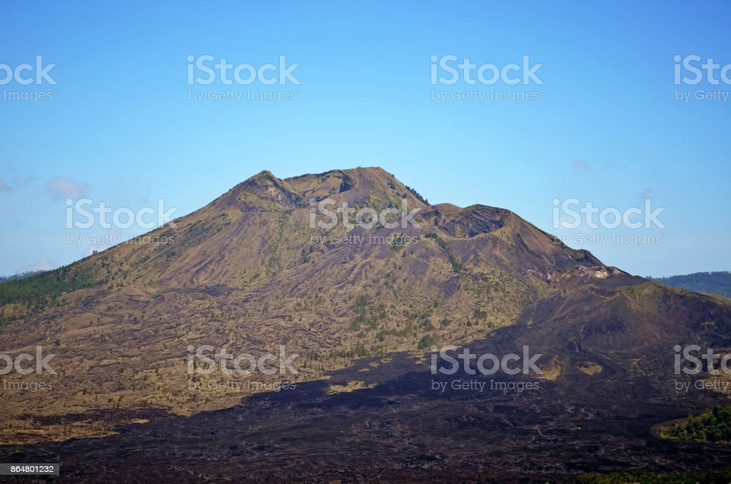 The sleeping volcano and the lava fields around it. stock photo