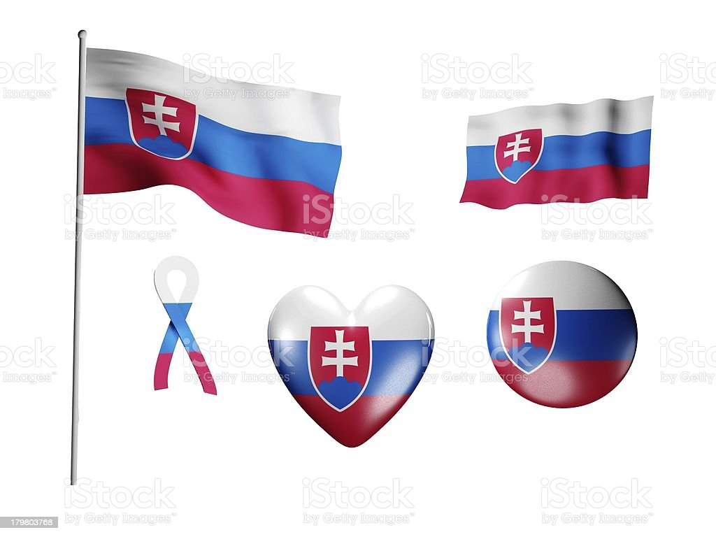The Slovakia flag - set of icons and flags royalty-free stock photo
