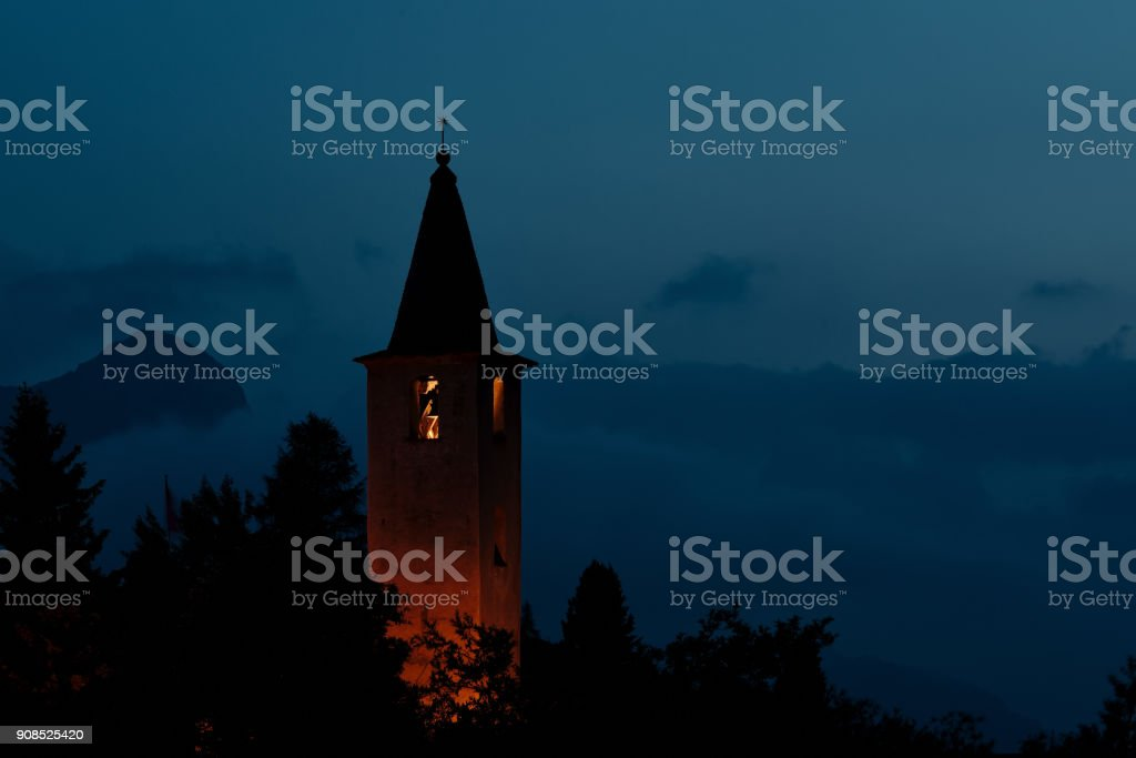 The small church of Sils Maria on Lake Sils near Sankt Moritz stock photo