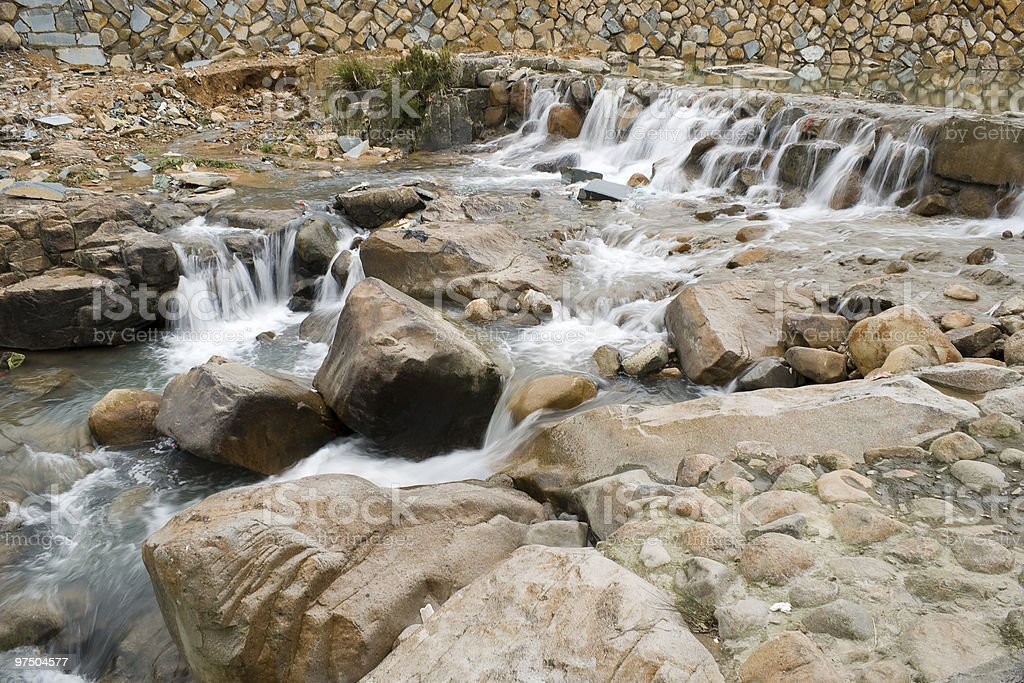 the small dam in brook royalty-free stock photo