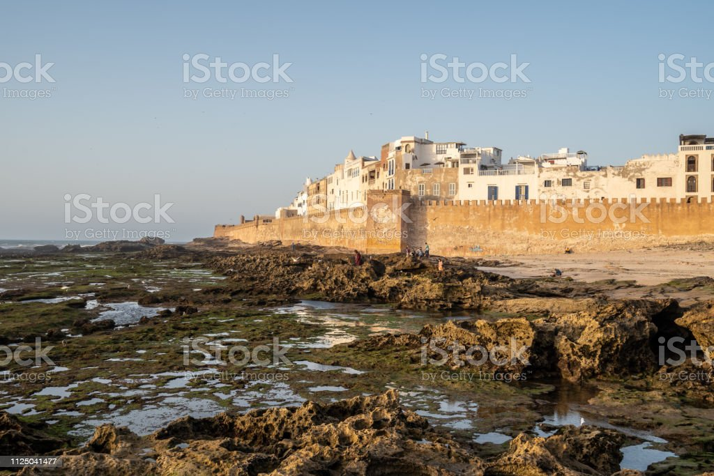 The small fisher town Essaouira in Morocco at sunset stock photo
