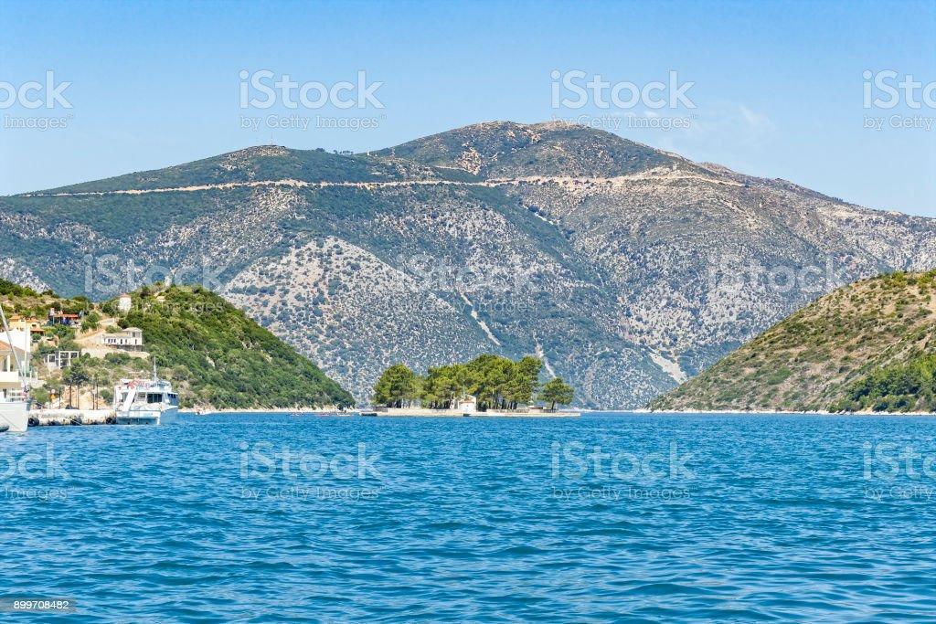 The small islet of Lazareto Islet, near Vathy, Ithaca stock photo