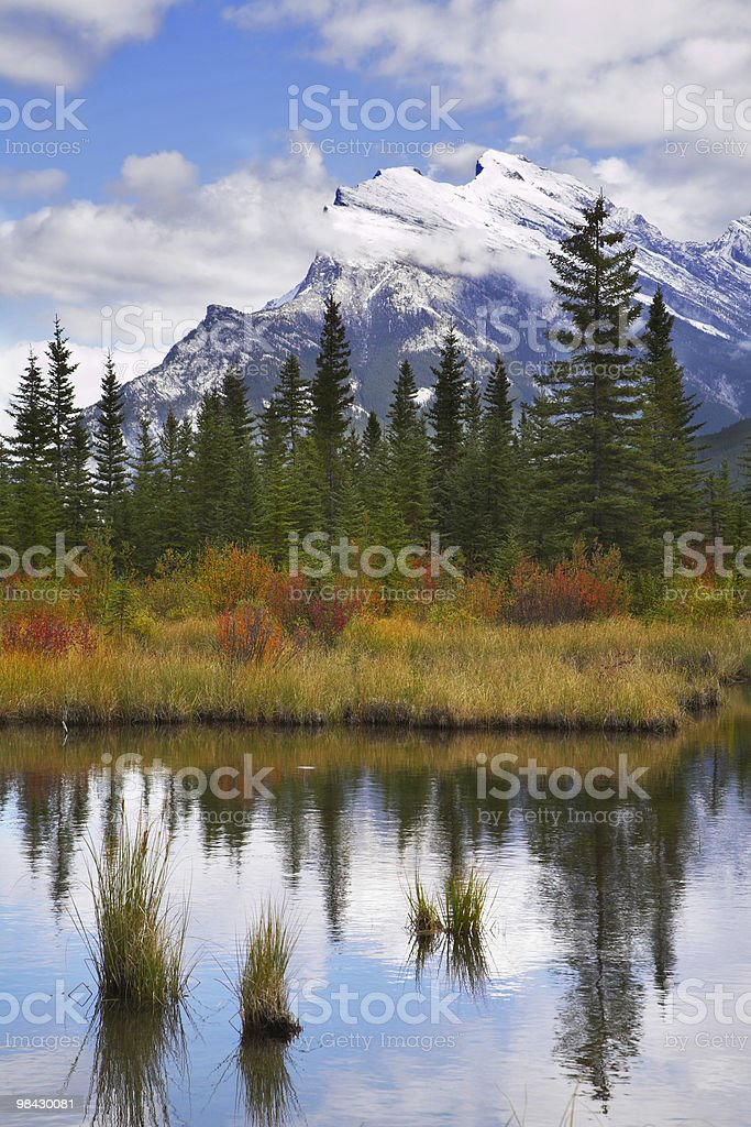 The small lake and picturesque autumn coast royalty-free stock photo