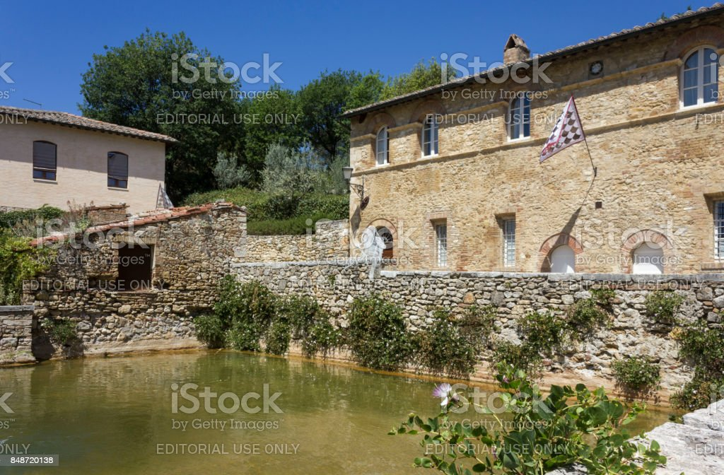 the small medieval town of Bagno Vignoni in Italy stock photo