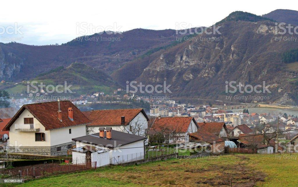 küçük güzel şehir Visegrad stok fotoğrafı