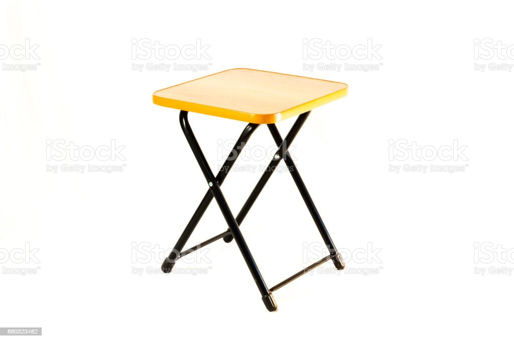 The small square stool on the white background stock photo
