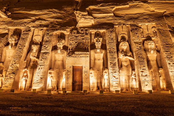 The Small Temple at the Ramses II Temples, also known as the Temple of Hathor and Nefertari stock photo