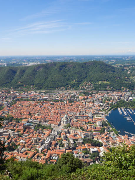 The small town of Como and the shores of Lake Como, Italy stock photo