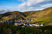 The small town of Mayschoss in Rhineland-Palatinate and a sunny autumn morning, Germany