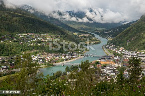 The small town of Odda in Norway. High angle view. Looking towards the east