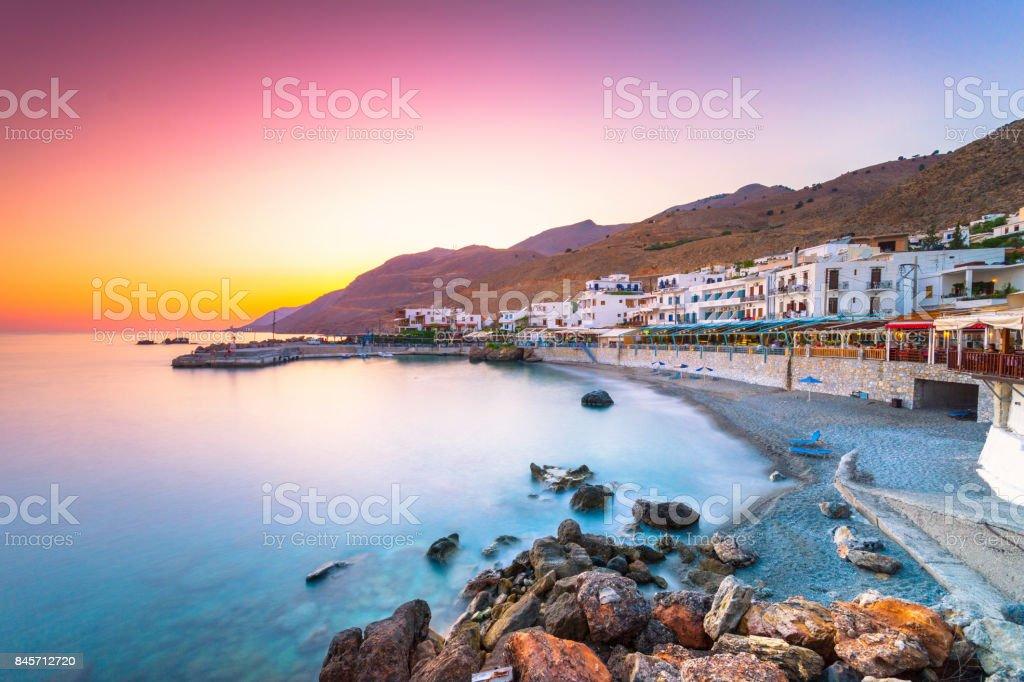 The small traditional village of Chora Sfakion, Sfakia, Chania, Crete, Greece. - Zbiór zdjęć royalty-free (Architektura)