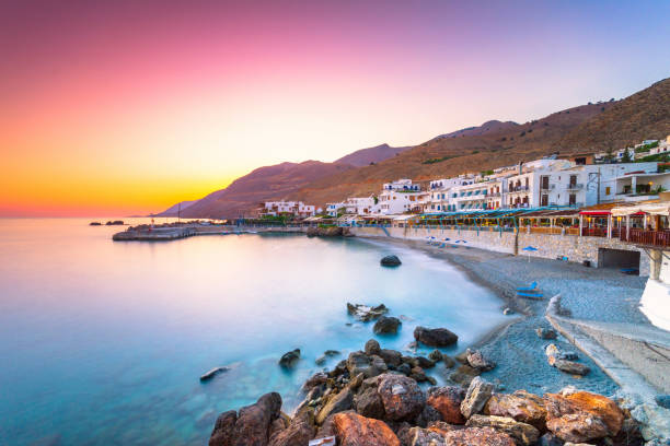 The small traditional village of Chora Sfakion, Sfakia, Chania, Crete, Greece. stock photo