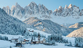 istock The small village in Dolomites mountains in winter. 1189127967