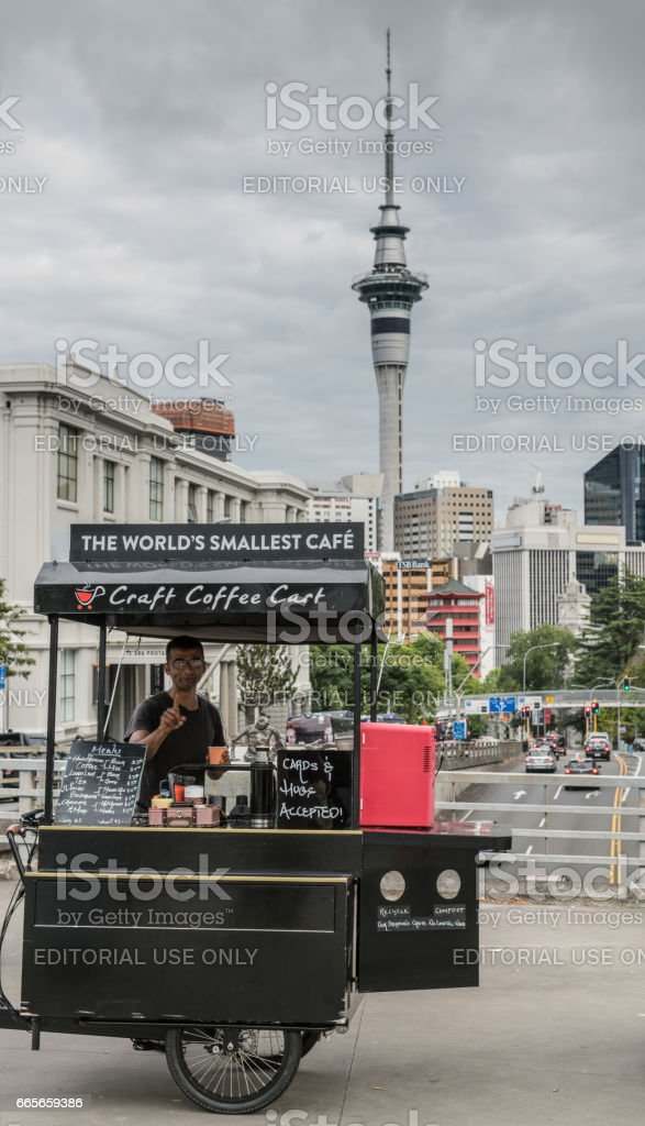 The smallesst coffee shop in the world. stock photo