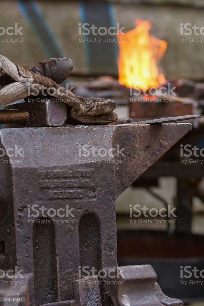 The smith's job is very difficult profession stock photo