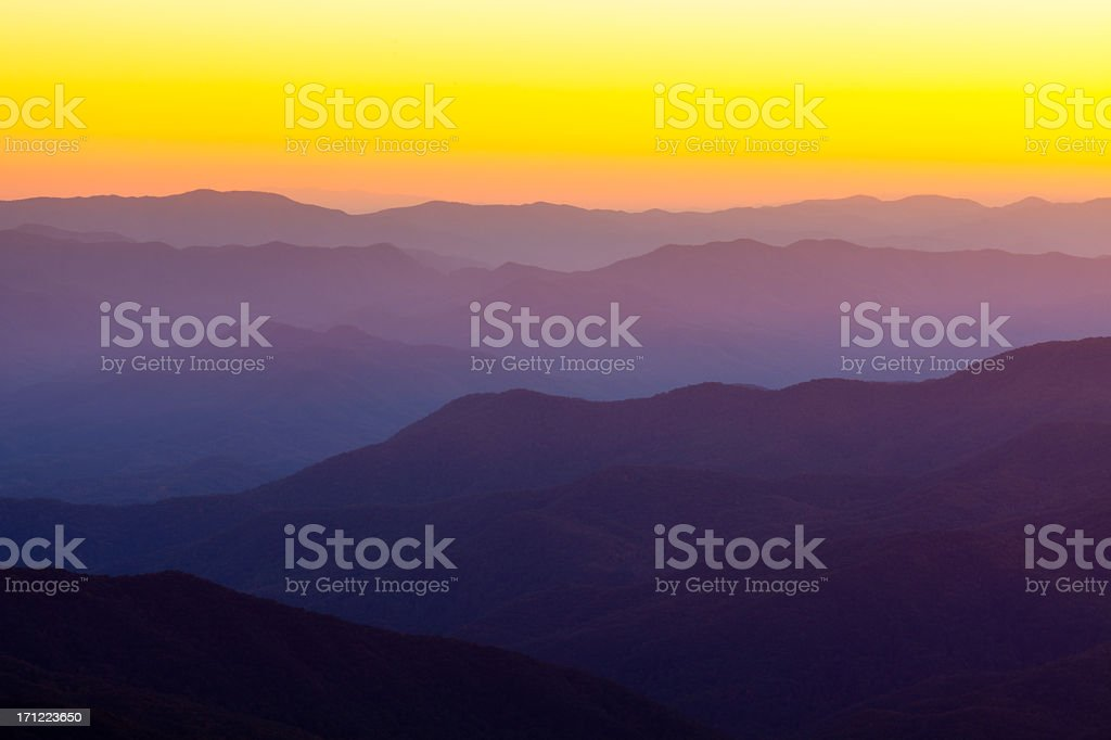 The smoky mountains during a sunset stock photo