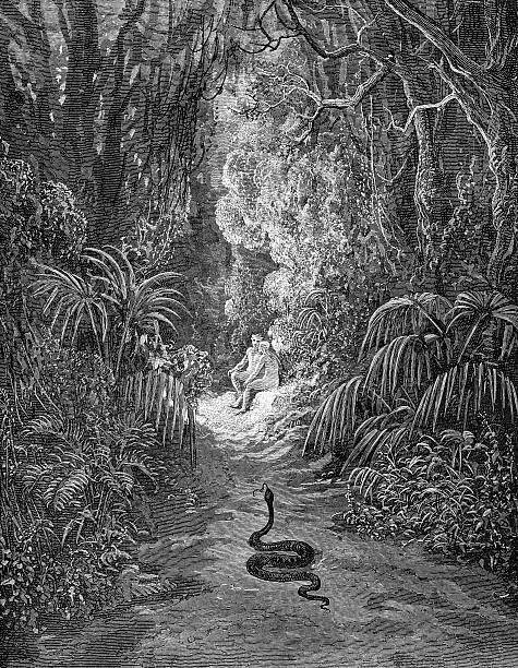 o snake procurando adam and eve - jardim do eden - fotografias e filmes do acervo