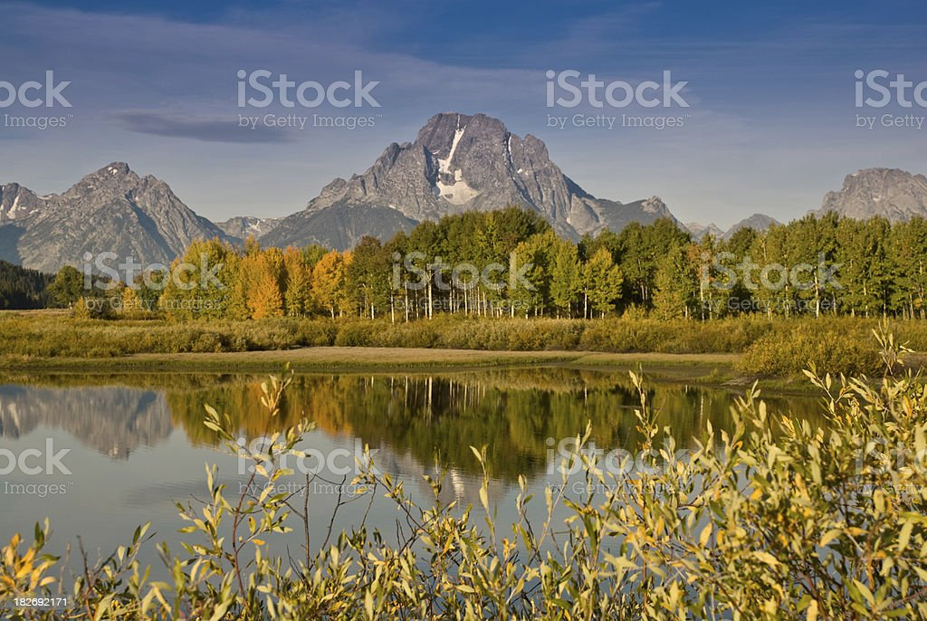 The Tetons and Fall Colors royalty-free stock photo