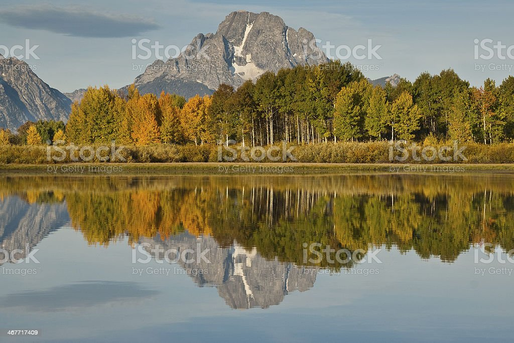 Mount Moran and Fall Colors Reflected in the Snake River stock photo