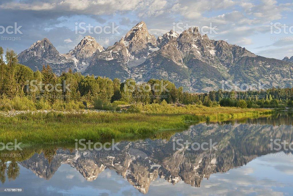 Teton Range Reflected in the Snake River - Royalty-free Awe Stock Photo