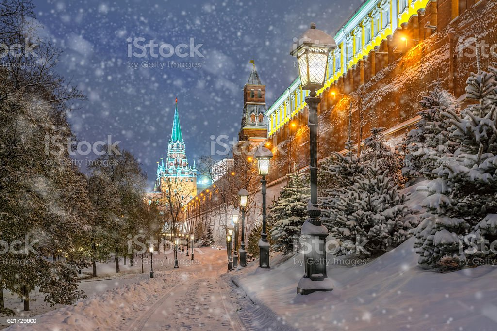 The snow at the walls of the Moscow Kremlin stock photo