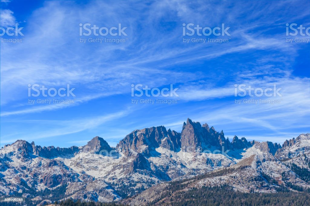 The snow capped Minarets ridge Californian Sierra Nevada, CA stock photo