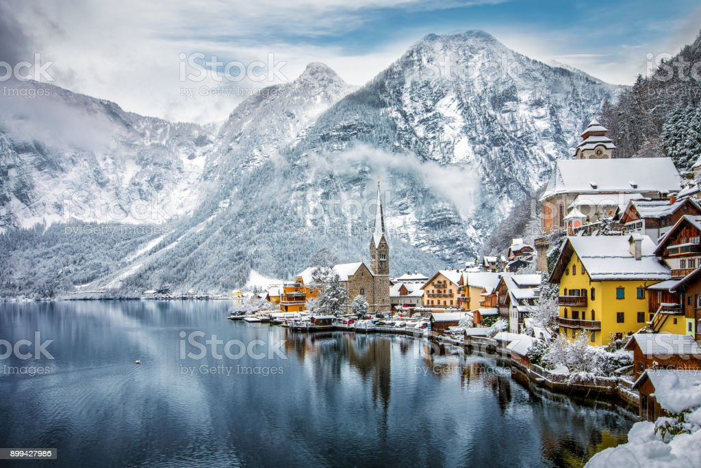 The snow covered village of Hallstatt in the Austrian Alps stock photo