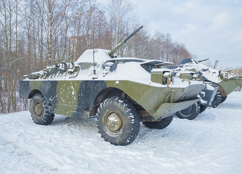 istock the snow is BRDM machine for landing and exploration 814316902