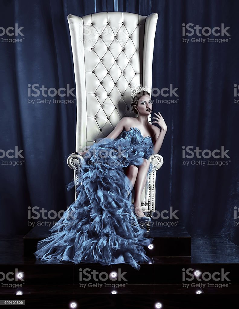 the snow queen on the throne stock photo
