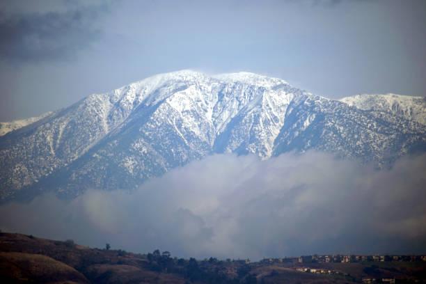The Snowcapped Peak of Mount Baldy stock photo