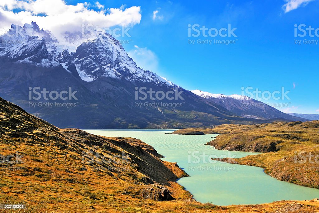 The snow-covered cliffs of Los Kuernos stock photo