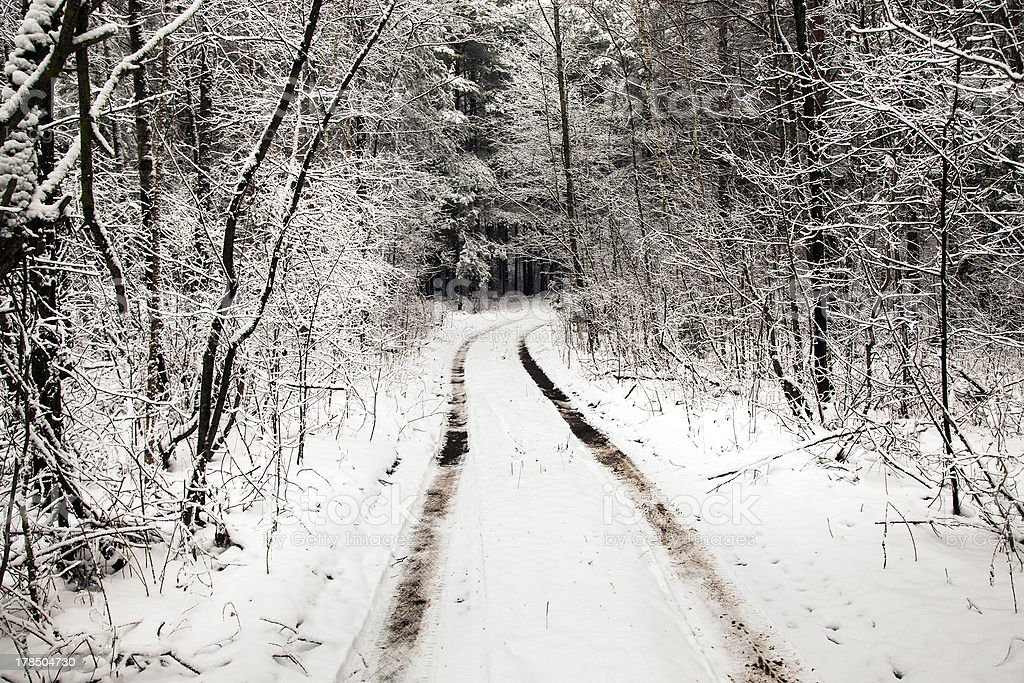 the snow-covered road royalty-free stock photo