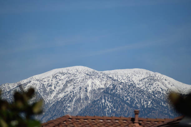 The Snow-covered Summit of Mount San Antonio stock photo