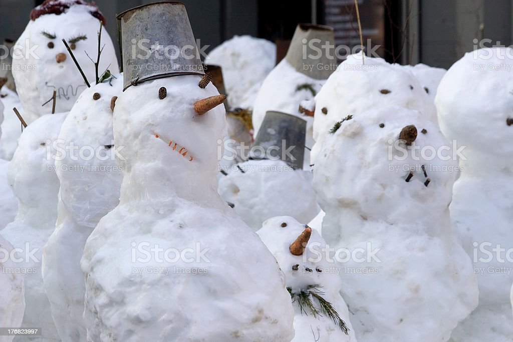 The snowmen company royalty-free stock photo