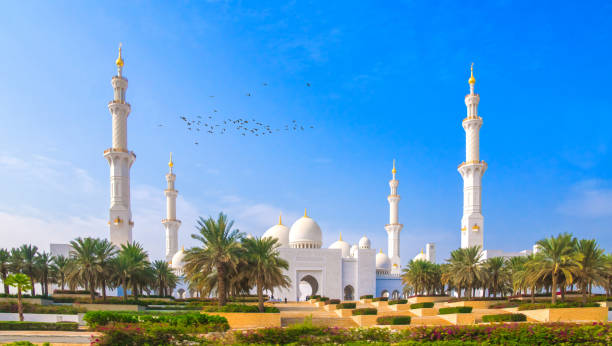 the snow-white imposing Sheikh Zayed Mosque in Abu Dhabi stock photo
