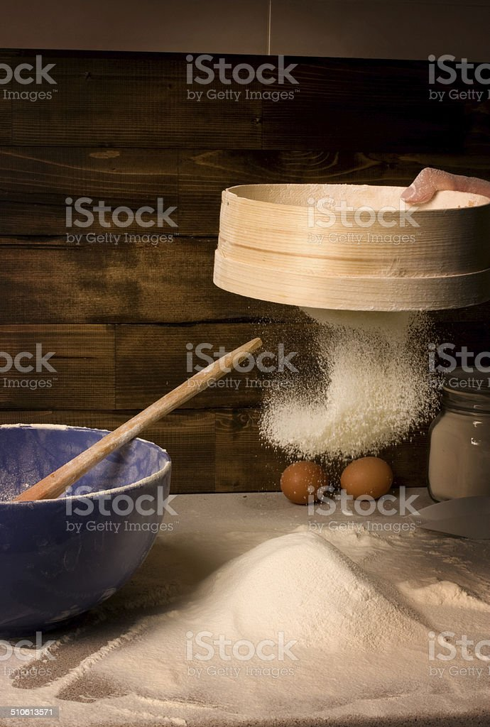 The snow-white wheat meal. stock photo