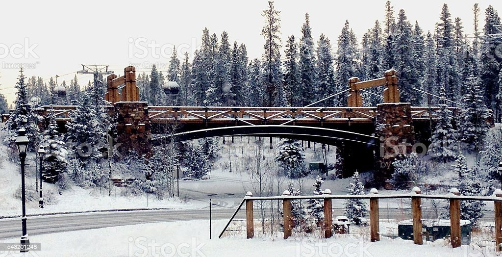 The Snowy Bridge stock photo