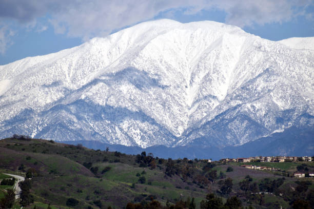 The Snowy Landscape of Mount Baldy stock photo