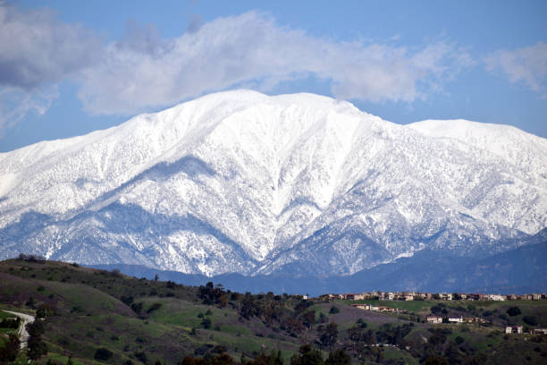 The Snowy Peak of Mount Baldy stock photo