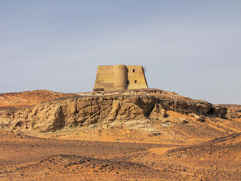 The so-called Throne Hall building, part of the archeological remains of the deserted town of Old Dongola, in the Nubian desert, in northern Sudan.