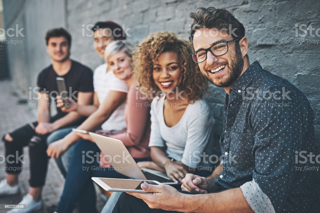 The social networking row stock photo
