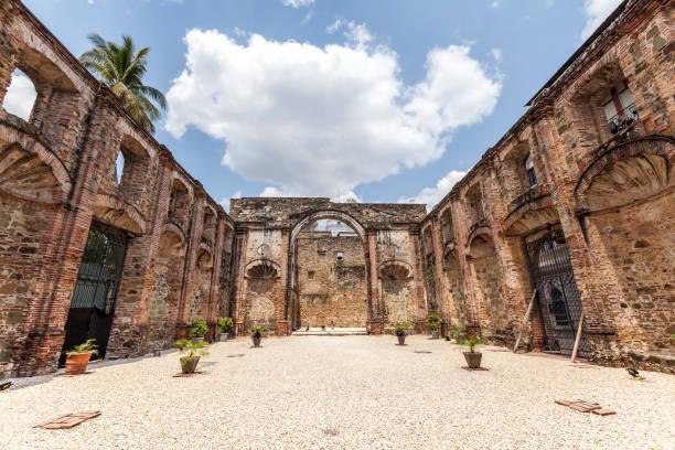 the society of jesus building in casco viejo, old town, panama city, panama stock photo