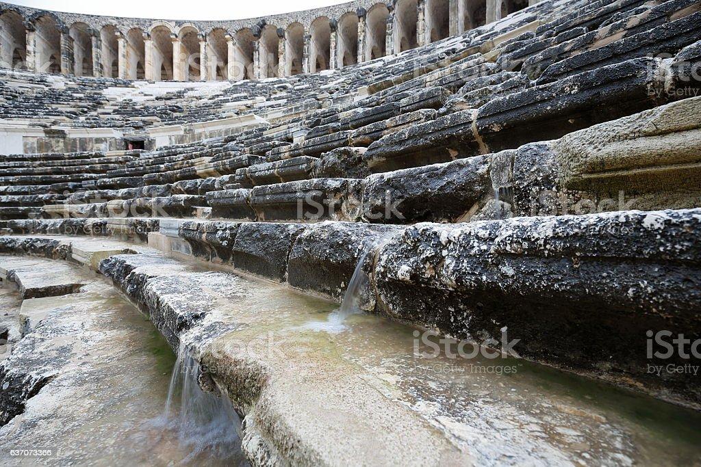 The so-considered best preserved theater of antiquity. Aspendos-Pamphylian coast-Turkey. 0063 stok fotoğrafı