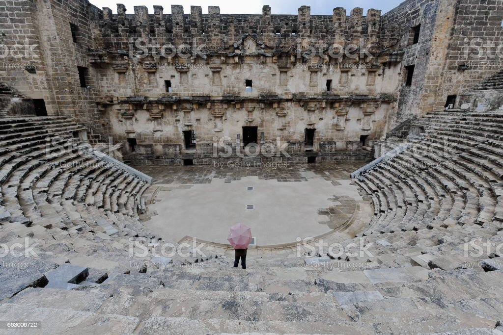 The so-considered best preserved theater of antiquity. Aspendos-Pamphylian coast-Turkey. 0065 stock photo